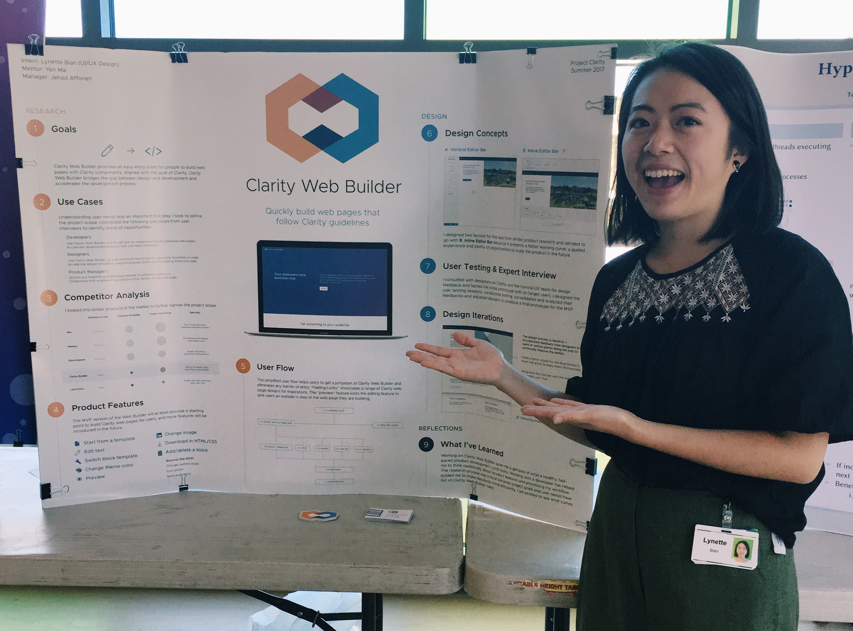 Photo 1: Lynette Bian '18 presenting her summer intern project at the end of her internship.